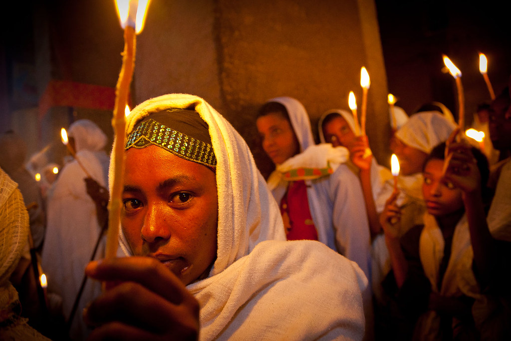 Pilgrims celebrate fasika(easter) inside the rock-hewn churches of Lalibela
