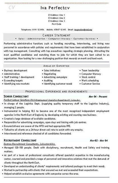 Recruitment Consultant CV Template Flickr Photo Sharing!