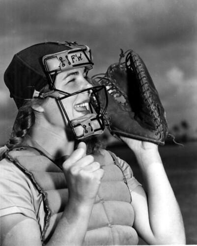 Dottie Schroeder, catcher, shouting play ball