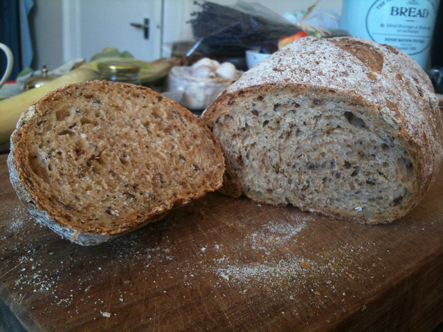 Seeded, malted bread
