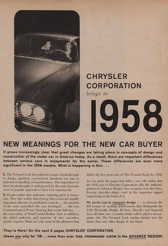 Chrysler Corportation Brings to 1958...