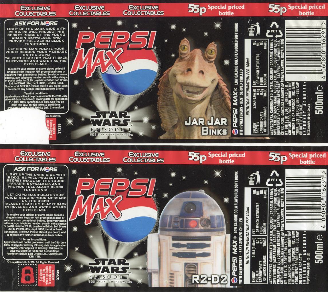 Pepsi Max UK bottles
