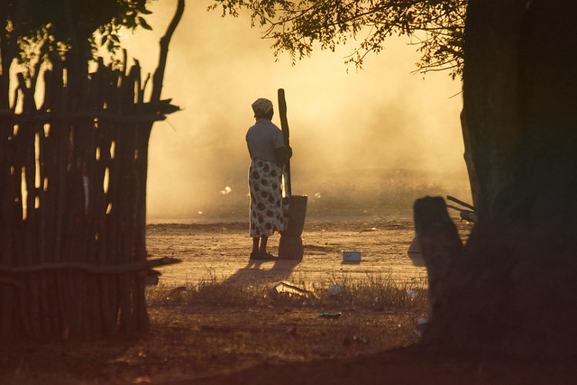 Mozambiquan woman pounds maize for the evening meal
