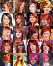 red orange pink hair color chart