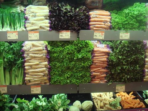 Greens and veggies at an organic supermarket