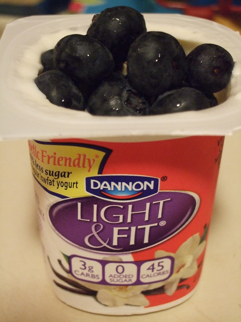 Dannon Light  Fit Diabetic Friendly Yogurt with some fresh blueberries thrown in  Flickr