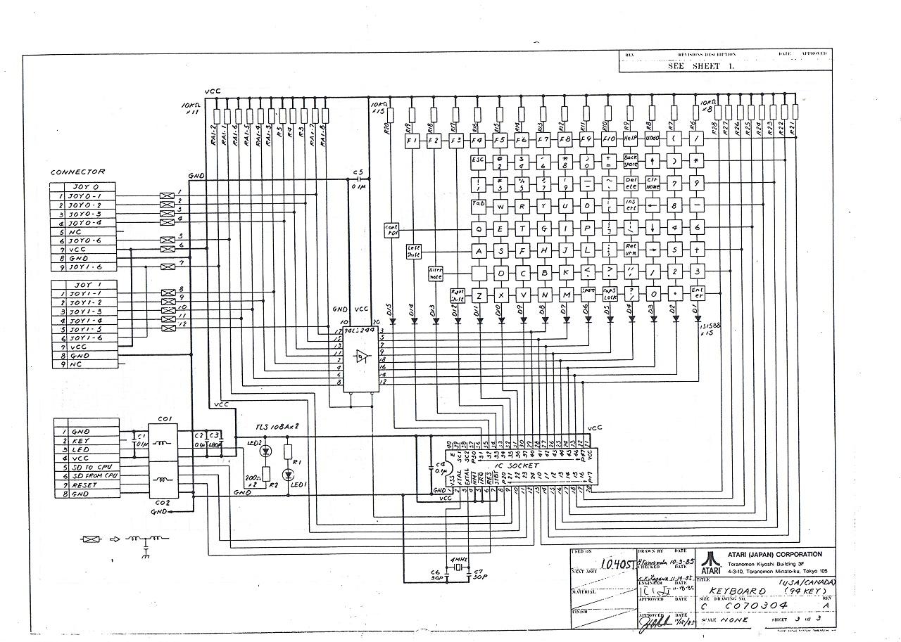re atari stfm keyboard schematic circuit diagram