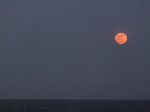Rising moon, ocean