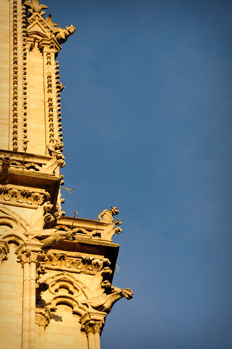 A photo of the carved stone external features on the Notre Dame Cathedral in Paris