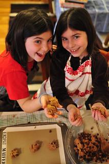 Twins baking brownies