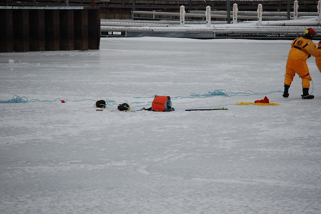 Lorain Fire Department And US Coast Guard Practing Ice