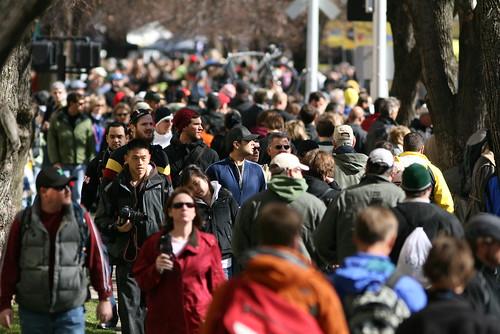 walking crowd of people