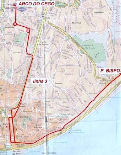 Trams de Lisbonne, plan de la ligne 3 (Portugal)