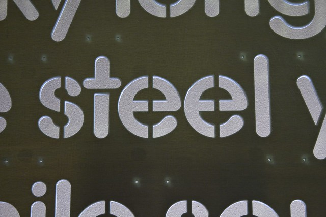 "Word Wall Panel Fresh From The WaterJet - ""steel"" Closeup (Ironically in Aluminum)"