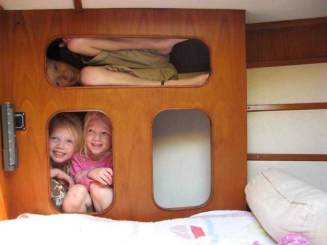 Kids in cubbies