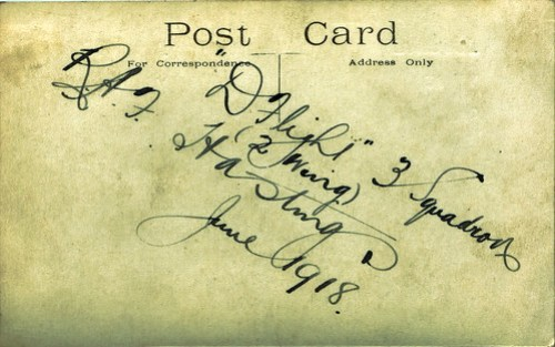WWI Post Card D Flight 3 Squadron RAF Hastings June 1918