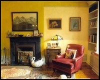 Yellow living room + two-tone paint by Nickey Kehoe ...