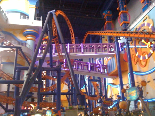 Indoor roller coaster at Times Square mall Take that Mall