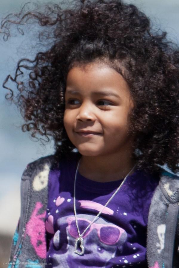 Closeup Of Cute Little African American Hispanic Girl With