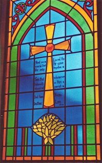 Church window, cross and bible verse stained glass window ...