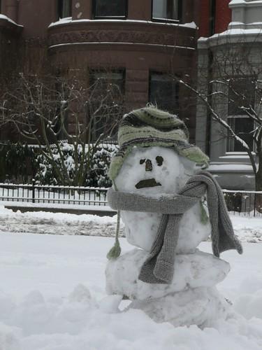 Sad snowman on Commonwealth Ave.