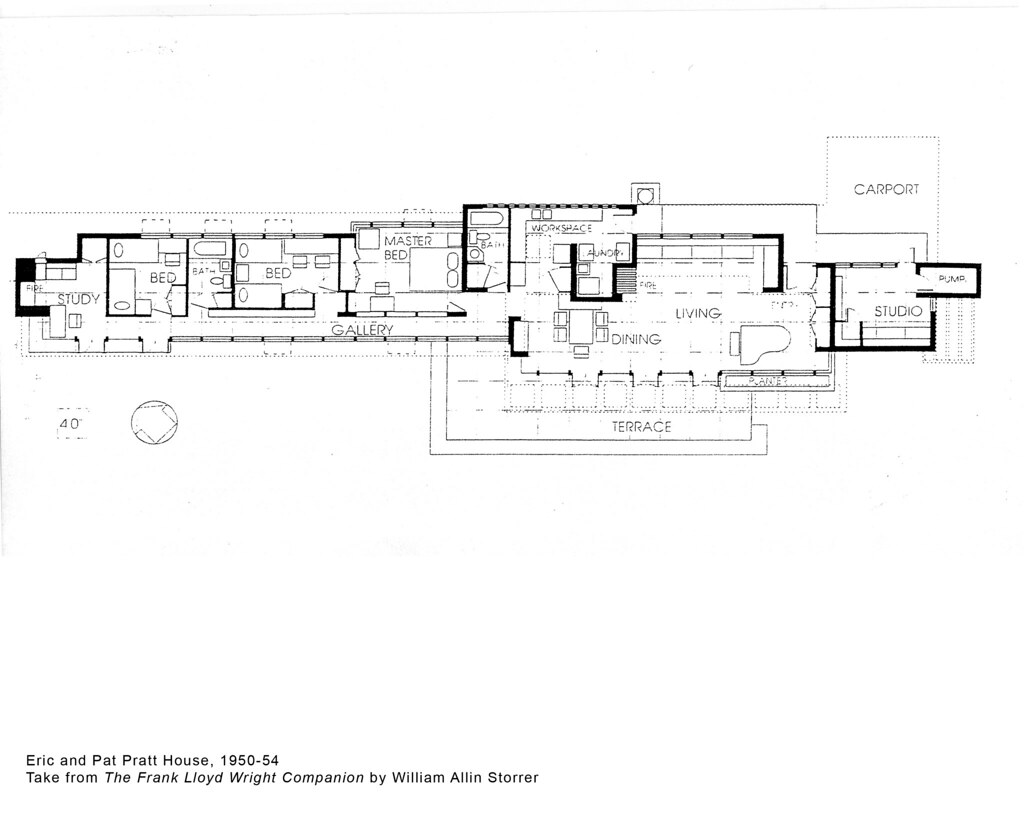 Eric and Pat Pratt House Plan (1951), Frank Lloyd Wright