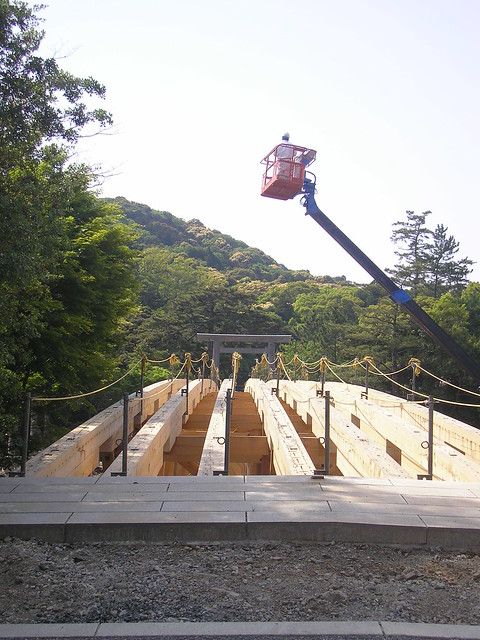Bridge under construction, Ise Shrine