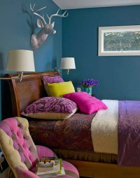Ideas for small spaces: Bright teal blue bedroom + jewel ...