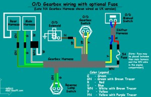 MGB Overdrive  wiring diagram (with fuse)  a photo on