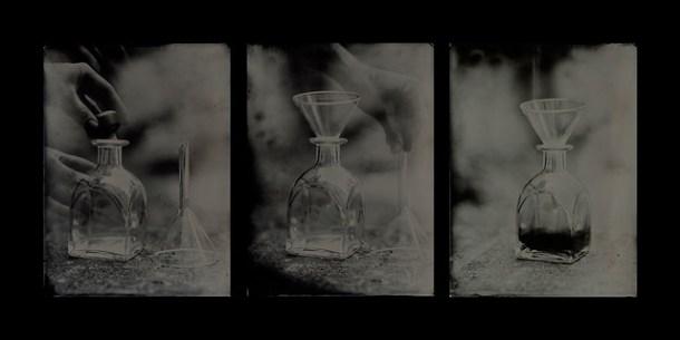 Processo de colódio úmido, wet plate ou ainda tintype - triptyque