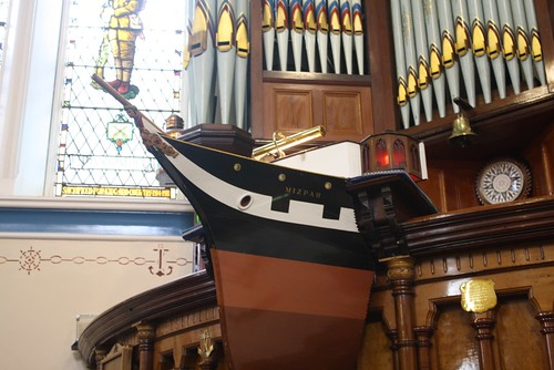 Sinclair Seamen's Presbyterian Church in the Belfast Docks area identifies with the Shipbuilding Industry with a pulpit in the shape of a ship.