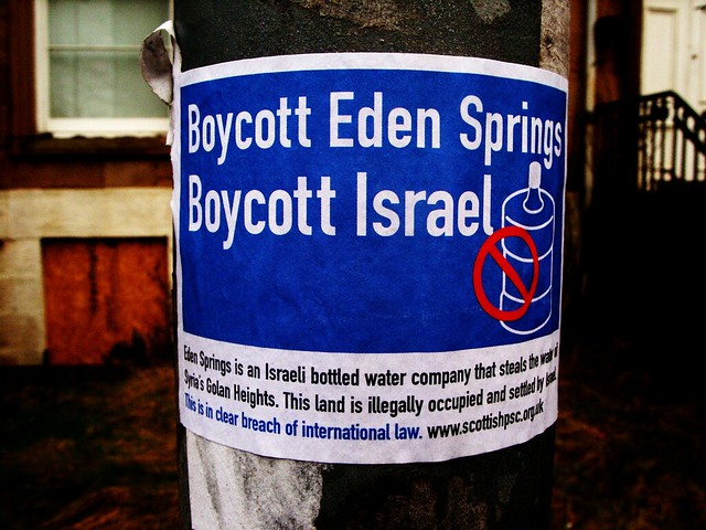 Edinburgh City Council did not renew its contract with Eden Springs, an Israel water company that takes water from occupied Palestinian territory in the Golan Heights.