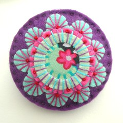 JAPANESE INSPIRED FELT BROOCH WITH KAFFE FASSETT FABRIC AND FREEFORM EMBROIDERY