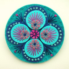FELT PEACOCK BROOCH - TEAL