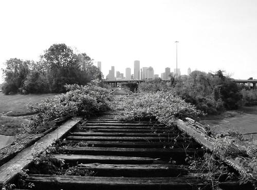 Houston Skyline, from Old MKT Railroad Trestle over White Oak Bayou, near Studemont & I-10, Houston, Texas 0330090947BW