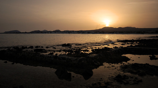 Sunset by the sea near Bir Ali, Yemen