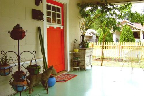 orange red door.