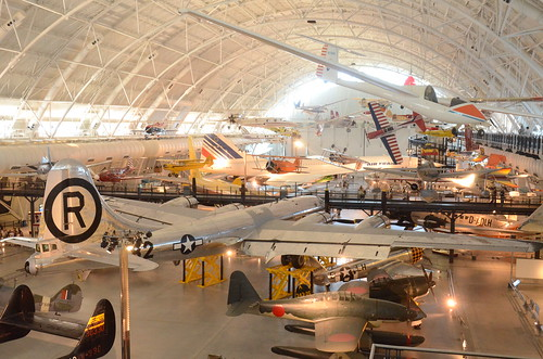 """Steven F. Udvar-Hazy Center: View of south hangar, including B-29 Superfortress """"Enola Gay"""", a glimpse of the Air France Concorde, and many others"""