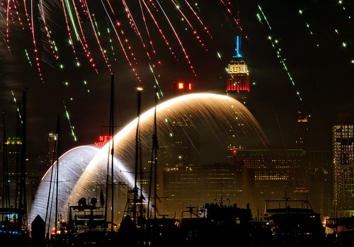 Empire State Building With Fireworks