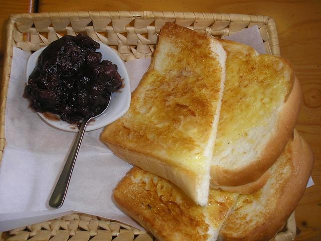 Nagoya-style breakfast: ogura toast