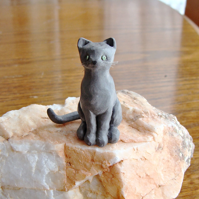 Clay Sculpture Miniature Cat Front Polymer Clay