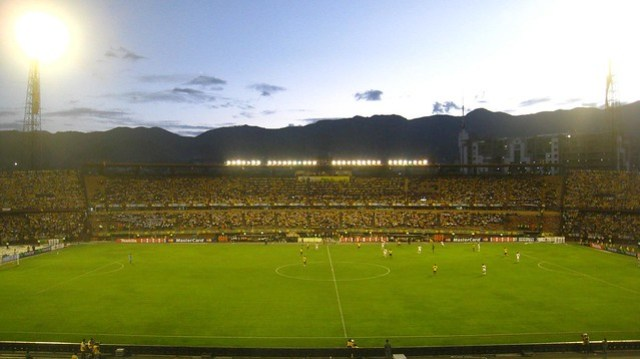 Colombia v Peru in a 2009 World Cup Qualifying match played at Estadio