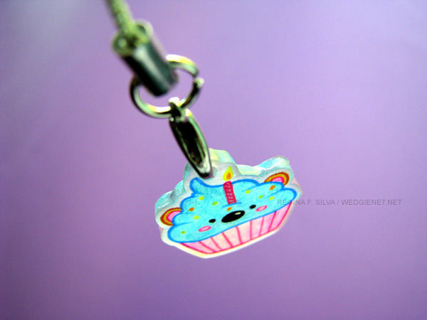 Blue/Pink Cupcake Bear Phone Charm