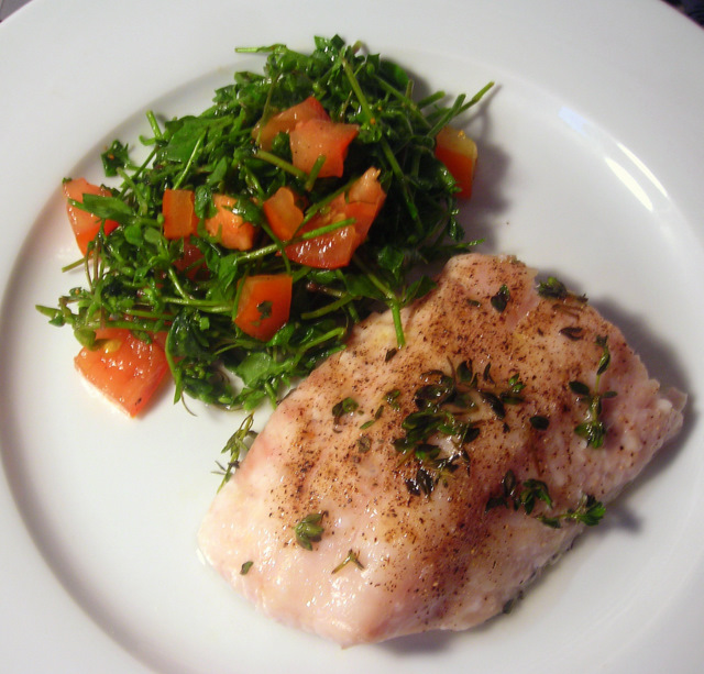 Broiled wild black sea bass; chickweed and tomato salad