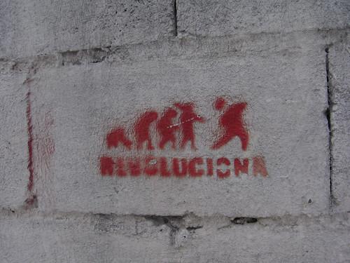 "north Quito (near Parque Carolina), Ecuador: ""Revolution"" stencil"