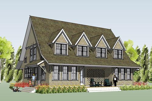 marine cottage house plan rendering