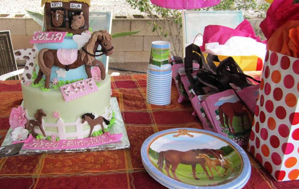 kids birthday party with a beautiful horse farm cake pony rides and petting zoo