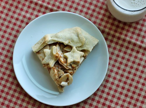 Top-down view of a small piece of galette on a white plate. It has little cut-out stars on top.