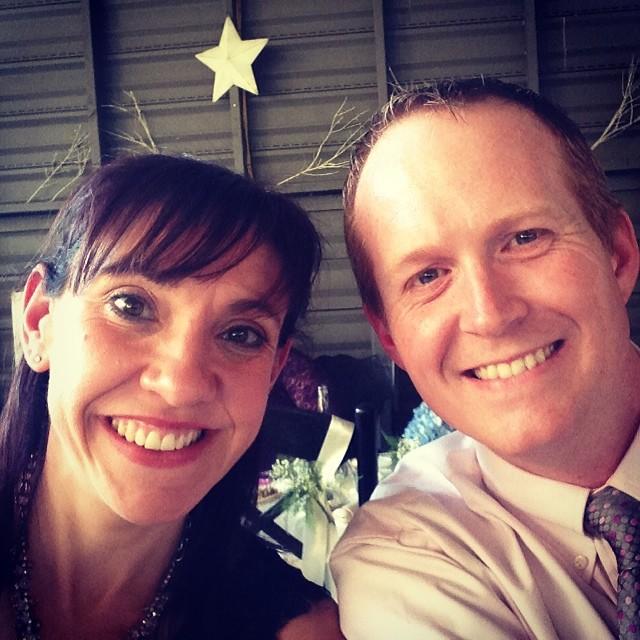 Wedding selfie. It looks like we have antlers.