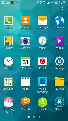 App tray ของ Samsung Galaxy S5